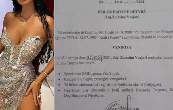 Doli lajmi që ishte emëruar specialiste në ujësjellës/ Flet për herë të parë Zajmina Vasjari: Ja cfarë ka thënë…